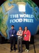 Students in front of World Food Prize image.